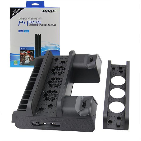 PS4 SLim Pro Multifunctional Coolling Stand 1.This product is suit for  the PS4, PS4 Slim and PS4 Pro console.  2.Two built-in high speed fans to accelerate the air inside the PS4 console to cool it. 3.Can store 12pcs game discs.   4.Supply power from the PS4 USB ports, no extra adapter, charge two PS4 controller simultaneously.   5.Anti-slip EVA on its two sides to avoid scratching and slipping of the PS4, PS4 Slim or PS4 Pro console. #PS4# #PS4 SLIM# #Charging Stand#
