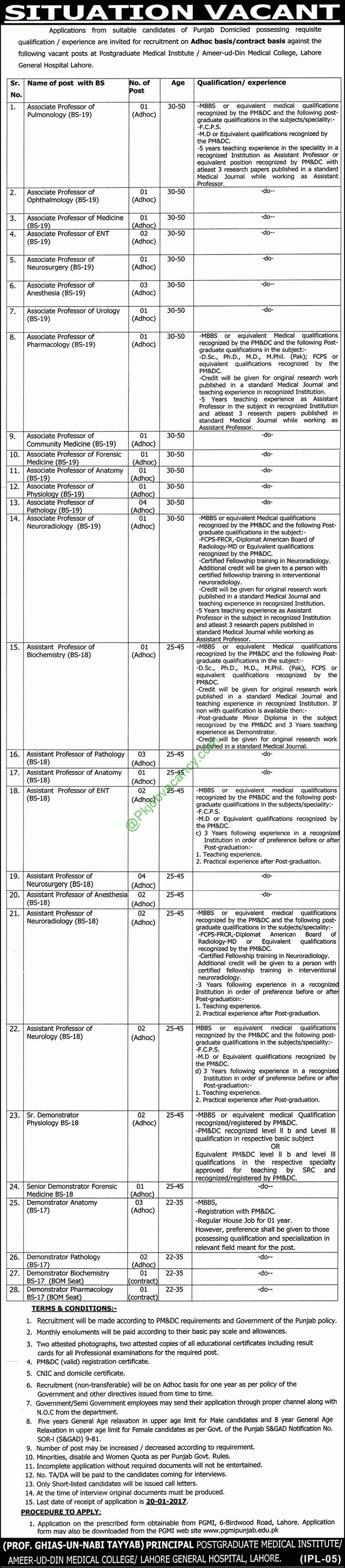 Ameer ud Din Medical College Lahore General Hospital Jobs Express Newspaper 5th January 2017