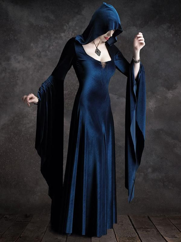 Stylish Vovo Hooded Velvet Flared Maxi Dress 2