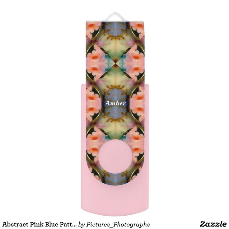 Abstract Pink Blue Pattern ~Personalised AMBER ~ USB Flash Drive