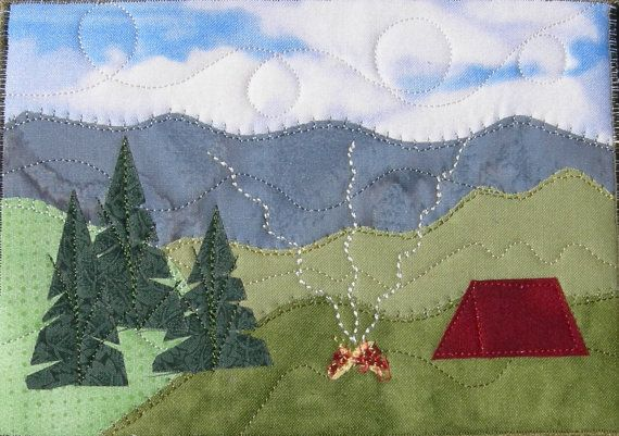 Handmade Fabric Postcard Camping in the Mountains by SewUpscale, $17.00