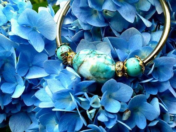 Bracelet, Semiprecious Stone Bracelet, Turquoise Stone Bracelet, Memory Wire Bracelet, Bangle Bracelet | etsy | Pinterest | Etsy, My etsy shop and Bracelets