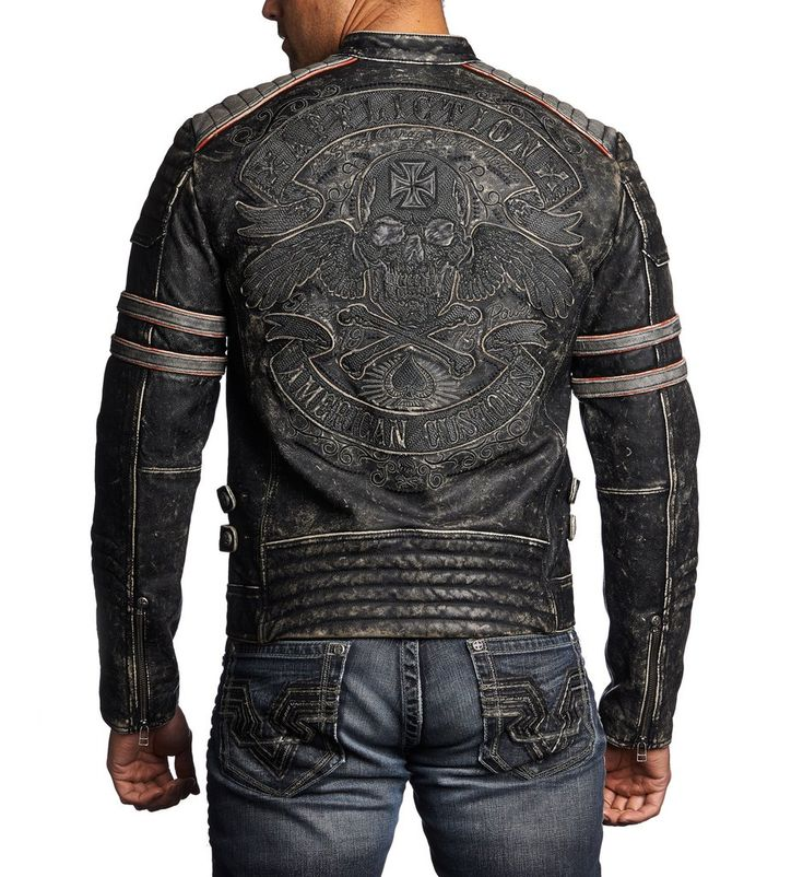DETAILS • Affliction Leather Jacket • American Custom Patch Artwork with Black and Charcoal Embroidery • Moto Fit • Black Vapor Wash CONTENT AND CARE • 100% Cow Hide Leather • Machine Wash Cold • Impo