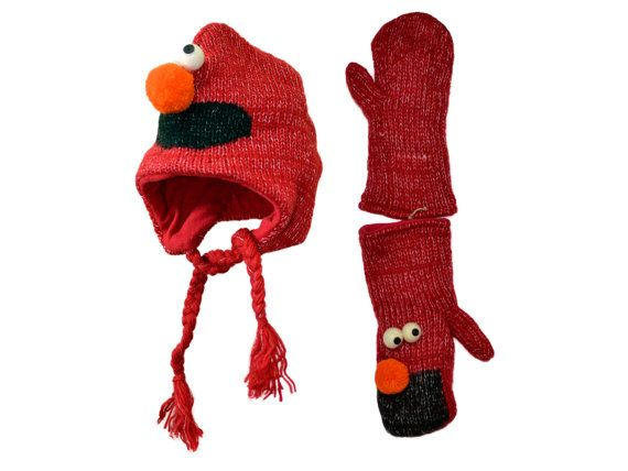 Red sesame animal knit hat with mittens set  by HatsMittensEtc
