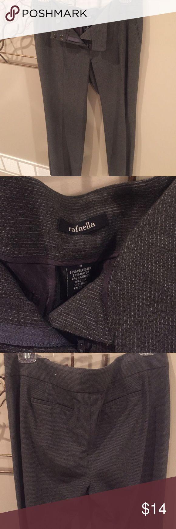 Women's dark gray pin stripe dress pants Size 8 dark gray pin stripe straight leg dress pants. Rafaella Pants Trousers