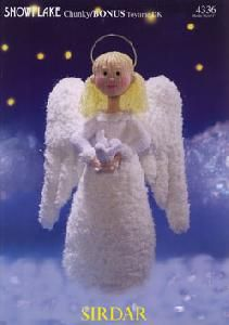 Sirdar 4336 Knitted Angel Toy. Uses #5 weight yarn for the angel and #3 weight yarn for the head, body, and dove.