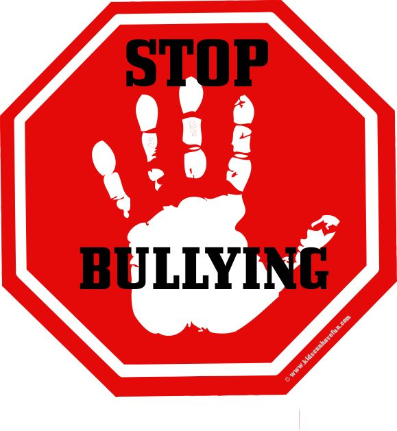 Hand on Stop Sign with Stop Bullying Letters