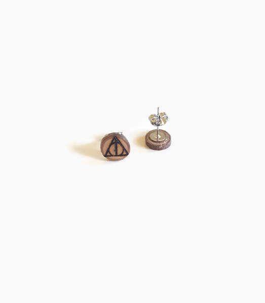 Wood Stud Earrings - Deathly Hallows, Stud Earrings, Wooden Earrings, Pyrography, Wood Slices, Harry Potter, Wood Burning, Wood Burned Art