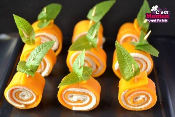 Roulés fromage déguisés en citrouille – pumpkin patch Halloween cheese roll