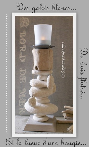 Candleholder made with stones and driftwood  / galets et bois flotté avec bougie