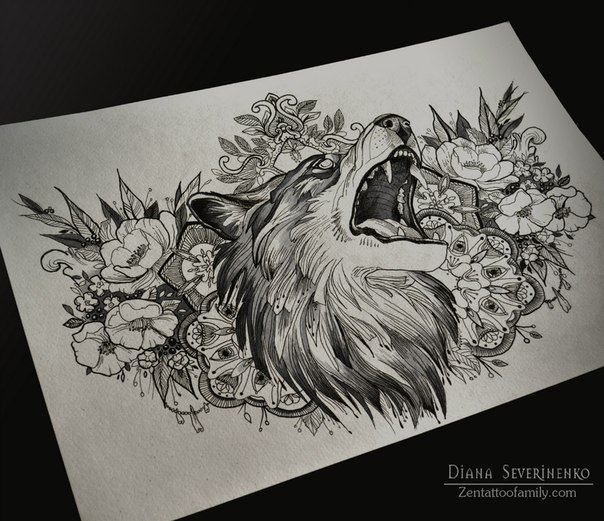 Perfect for an underboobs tat'... except the wolf's eyes.