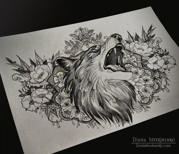 #Tattoo #Wolf #Flower #Ink                                                                                                                                                                                 Mais