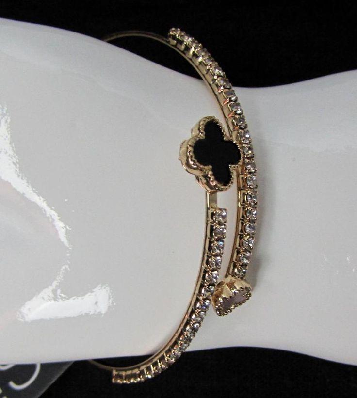 Women Gold Overlap Rhinestone Bangle Bracelet NWT NEW #SiMi #Bangle