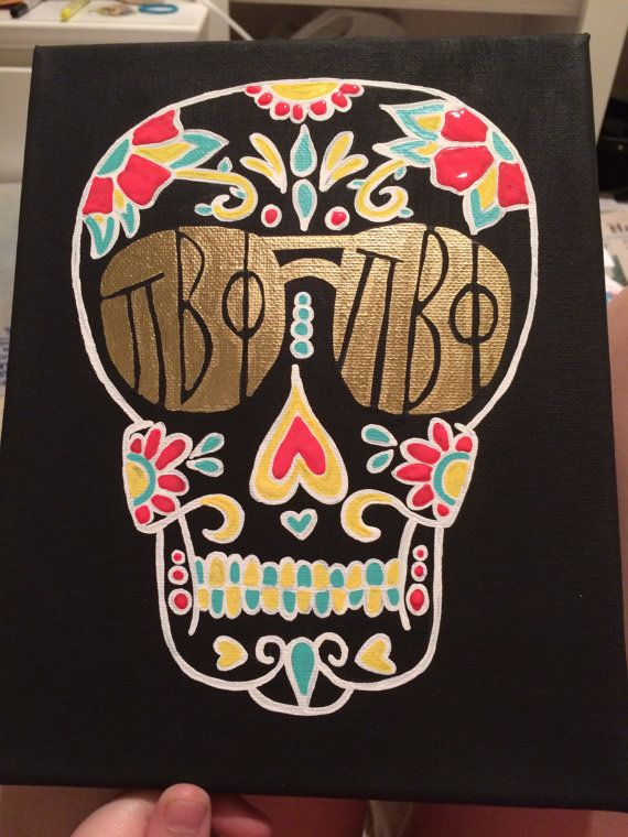 Skull Pi Beta Phi 8x10 Painting by CreationsByChrissyB on Etsy