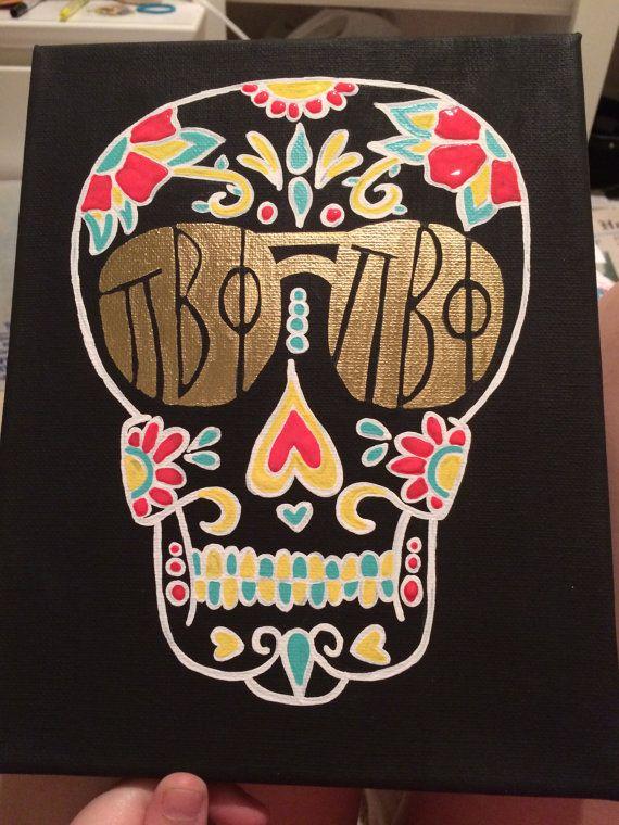 Skull Pi Beta Phi 8x10 Painting by CreationsByChrissyB on Etsy