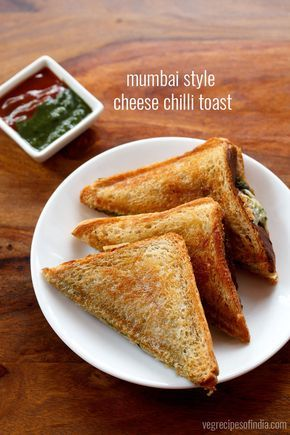 mumbai cheese chilli toast sandwich recipe - tasty toast sandwiches made with cheese, green chilies, green chutney and spices+herbs
