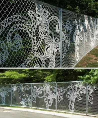 Embroidery Chainlink Fence - Fence mural, fence art, painted fence, garden art, chain link fence