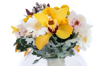 Yellow, grey and white flowers bridal bouquet with cymbidium orchids by Atelier Floristic Aleksandra concept Alexandra Crisan