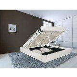 Premier lit adulte avec coffre 160x200 cm en simili blanc  sommier inclus