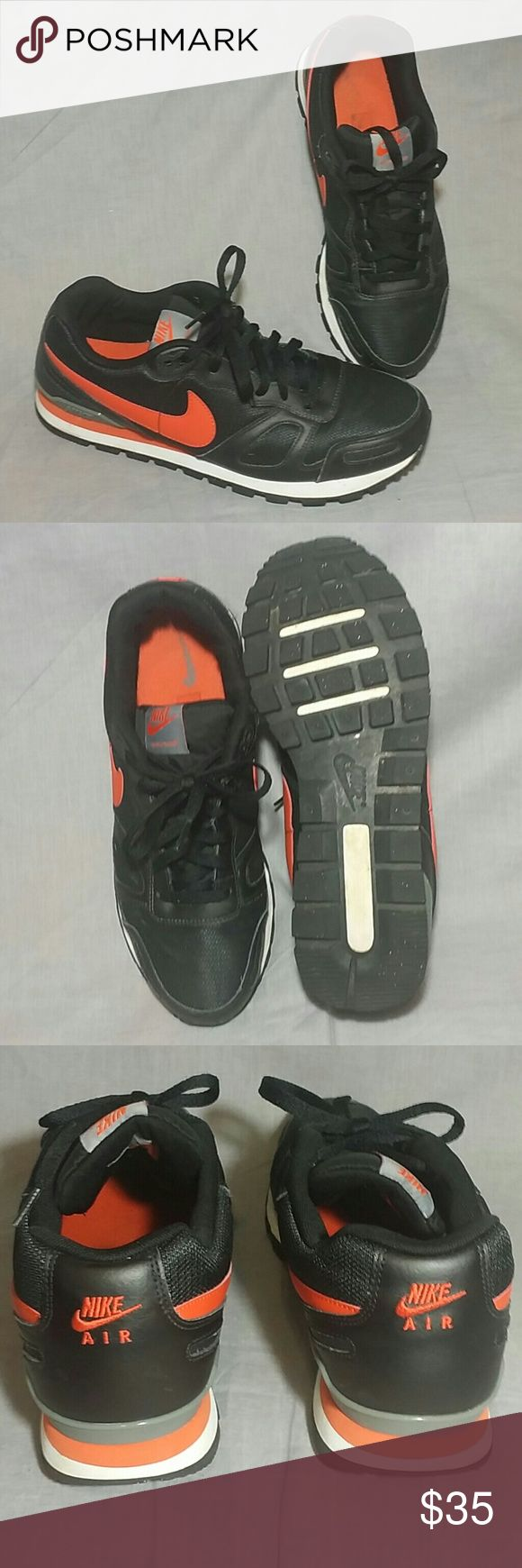 Men's NIKE AIR WAFFLE TRAINER Shoes Black 11.5 M Men's Nike Air waffle Trainer Shoes Black Orange Size 11.5 M Lace ups , item is in a good condition. Nike Shoes Sneakers