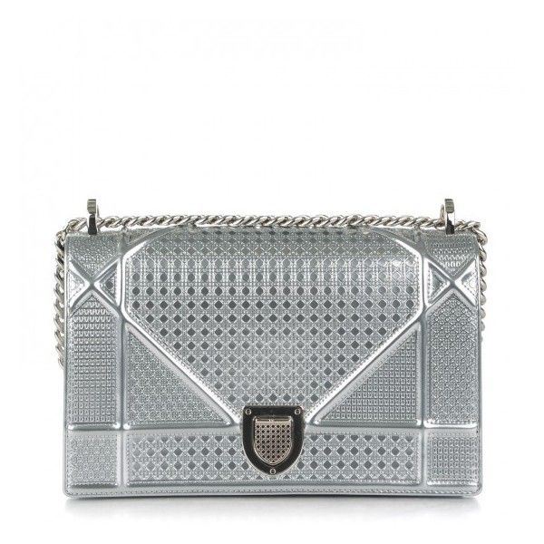 CHRISTIAN DIOR Metallic Calfskin Micro-Cannage Medium Diorama Flap Bag... ❤ liked on Polyvore featuring bags, handbags, shoulder bags, evening purses, silver shoulder bag, silver handbags, crossbody purses and shoulder strap bags