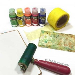 Video sharing how to use mesh from the hardware store as a texture tool on the Gelli plate® to create a background for a very silly art journal page for this week's Let's Play link party by Carolyn Dube