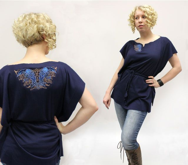 Easy and romantic no-sew tunic, with gorgeous Celtic embroidery.