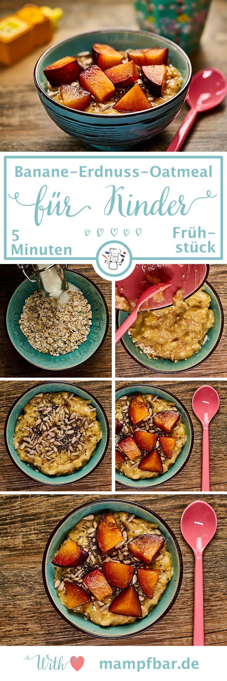 In 5 Minuten fertig: unser Gute-Laune-Power Frühstück für Kinder (und müde Mamas) mit Banane und Erdnuss. Klick hier für das leckere Oatmeal Rezept und viele weitere gesunde Ideen für deine ganze Familie.