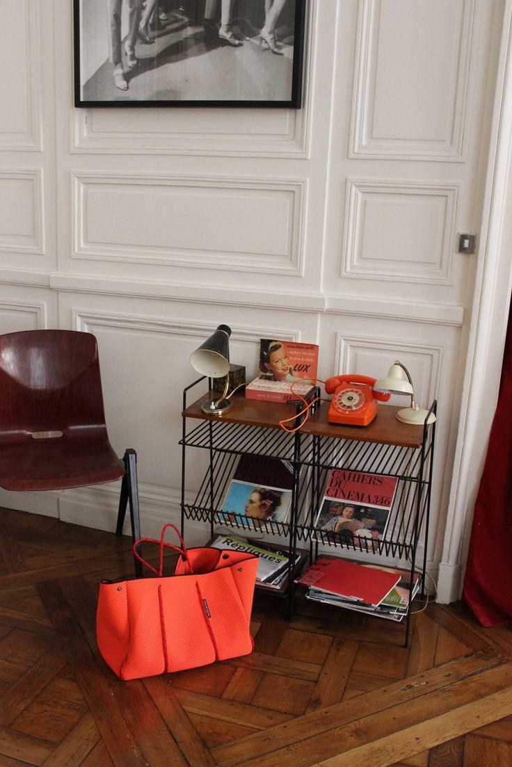 Interior Paris Apartment St Germaine with Hot Coral Escape carryall