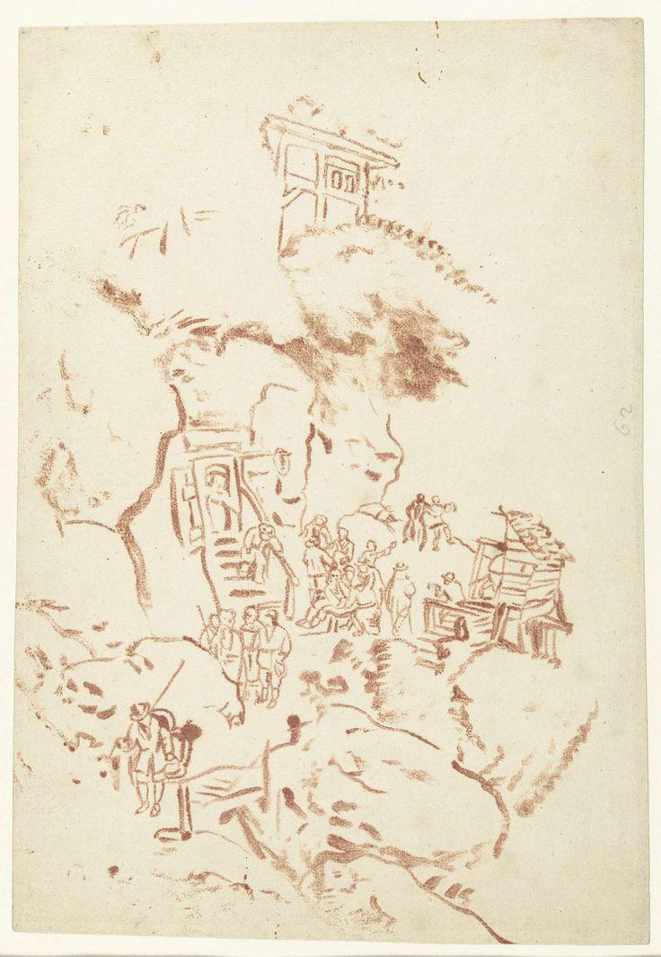 anoniem | Bergwand met rotswoningen, attributed to Cornelis de Bruyn, 1662 - 1726 | Bergwand met rotswoningen en een bergpad met figuren, in de trant van een Chinese tekening.