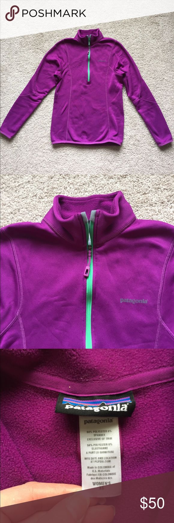 """Patagonia purple zip up fleece pullover xs Excellent condition bright purple 1/4 zip up with polar Tec fleece lining ! Bust measures 16""""and length is 22"""" Patagonia Tops Sweatshirts & Hoodies"""