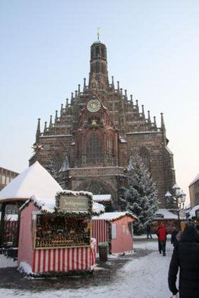 The Church of Our Lady during christmas time. Visit the Church in Nuremberg
