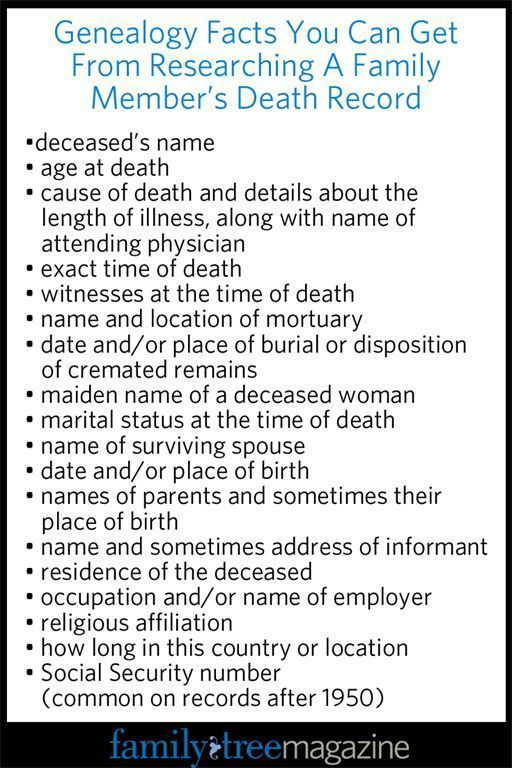 Genealogy Records Workbook: Where to Look for Death Records - Family Tree Magazine