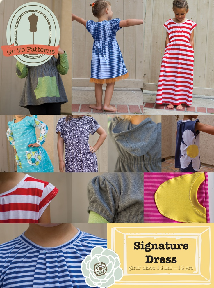 Signature-Dress -- awesome pattern for jersey dress for kids with a million iterations from short to long, different length/style of sleeves, even appliqués. Also has great tips and tricks for sewing with jersey knit