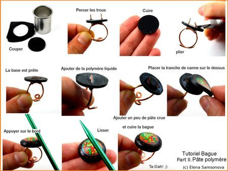 Wire and polymer clay ring tutorial.  The instructions are in French, but there are enough pictures to get the idea.