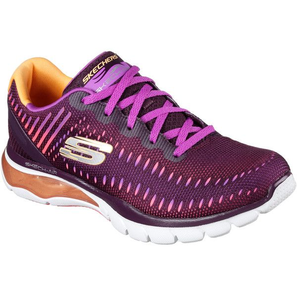 Skechers Women's Skech-Air Cloud Purple - Skechers ($79) ❤ liked on Polyvore featuring shoes, purple, purple shoes, lace up shoes, mesh shoes, skechers footwear and skechers