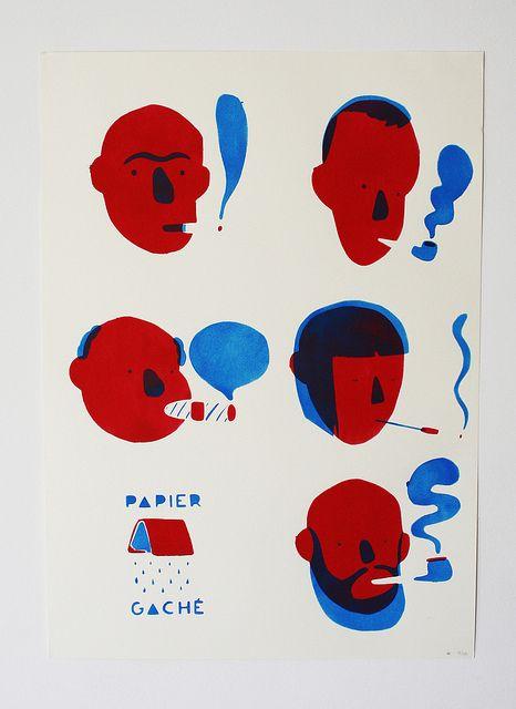 fumeurs by Bastien Contraire, via Flickr appro notice/voc naïf/aplats de deux couleurs/simplification des visages