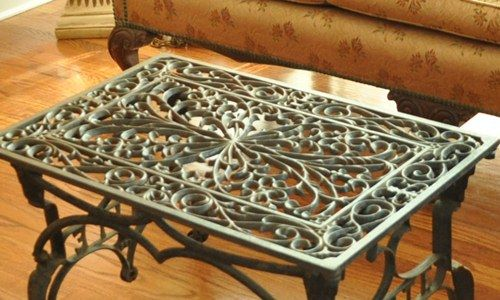 Sewing machine base and metal door mat or floor furnace grate. This is one of my favorites . . .