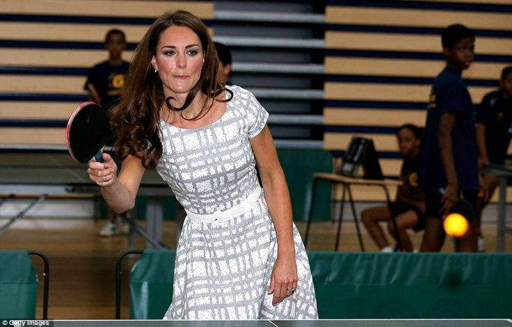 Princess of ping pong: The Duchess of Cambridge plays table tennis as she visits Bacon's College to launch the Coach Core programme today