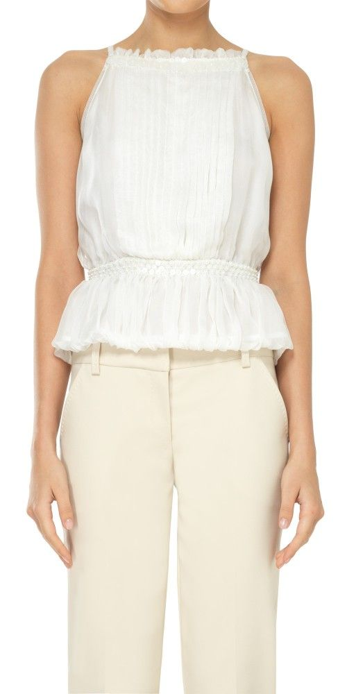 LEON MAX SILK CHIFFON HALTER TOP WITH PAILETTE DETAILS. #leonmax #cloth #