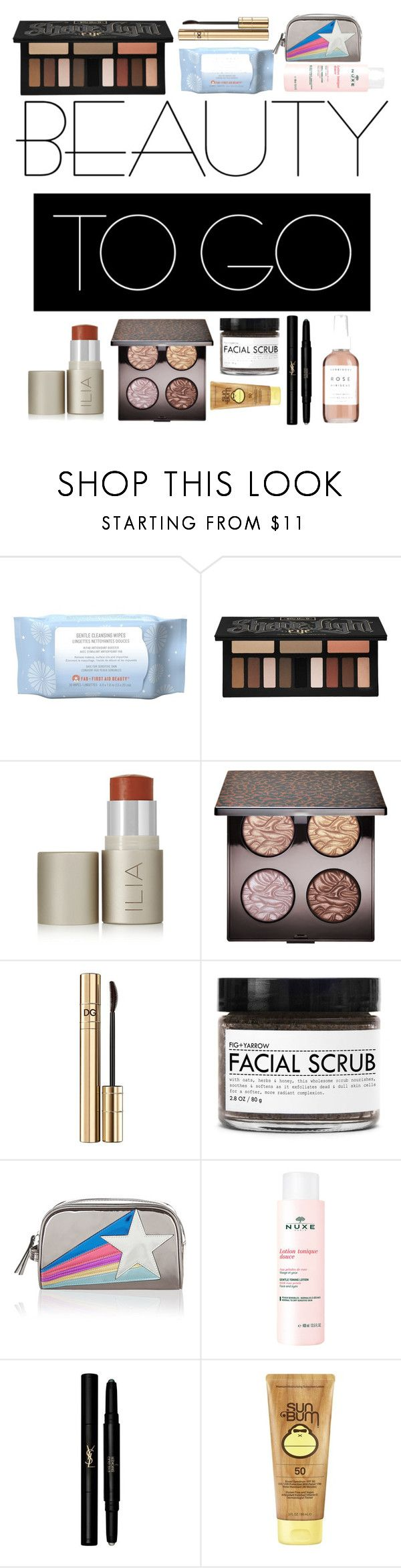 """""""Beauty to Go"""" by niltiacaitlin ❤ liked on Polyvore featuring beauty, First Aid Beauty, Kat Von D, Ilia, Laura Mercier, Dolce&Gabbana, Fig+Yarrow, Accessorize, Nuxe and Yves Saint Laurent"""