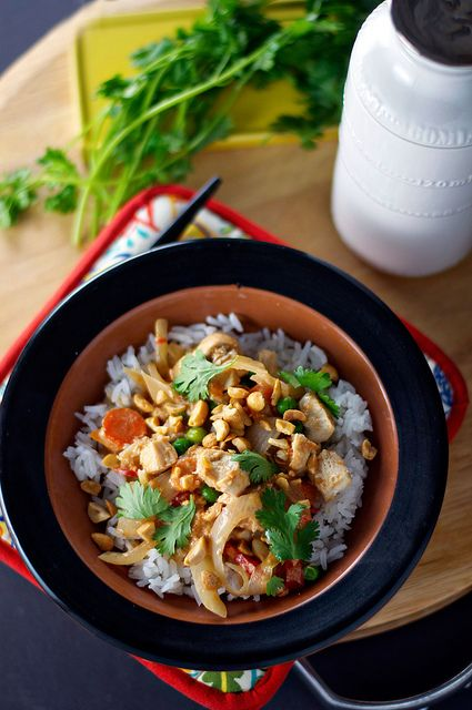 slow cooker Thai chicken and rice from on the woodside