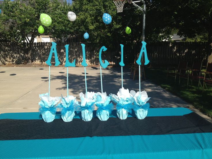 Teen sweet 16 cake table decor teal turquoise lime green for 16 birthday decoration