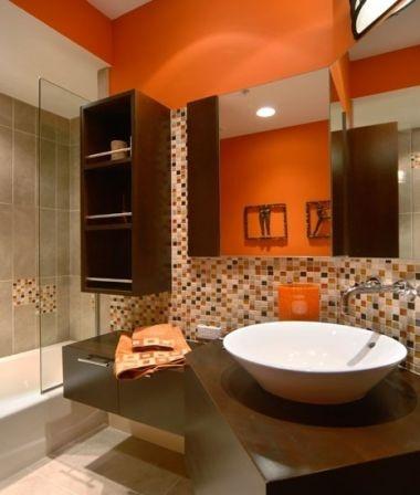 Die besten 25+ Orangefarbene badezimmereinrichtung Ideen auf - moderne badezimmer ideen regia