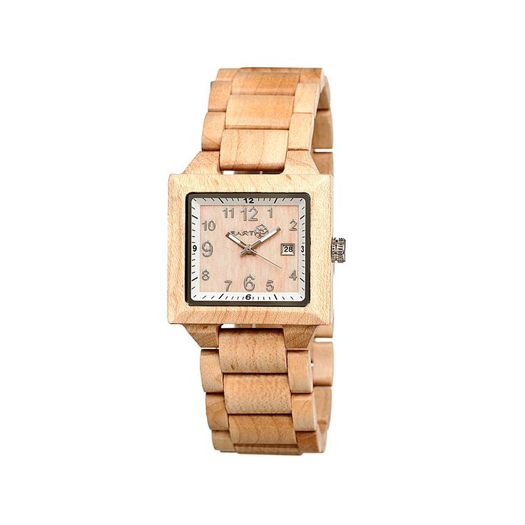 Earth Wood Goods Watches Earth Wood Culm Square Dial Light Wood Bracelet Watch