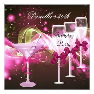 30ème Anniversaire Martini rose Champagne Carton D'invitation 13,33 Cm