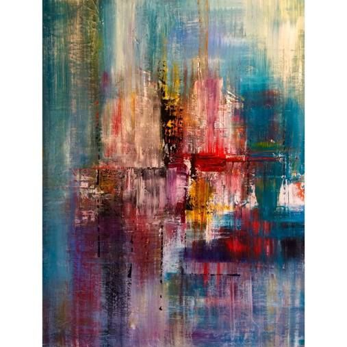 60 x 80 cm abstract painting acrylic on canvas by Mo Tuncay