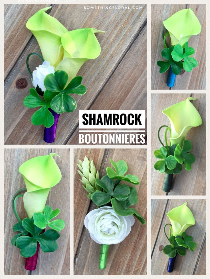 Shamrock boutonniere and corsage ideas. So cute (and lucky) for a Celtic themed or St. Patrick's Day wedding or party. #weddingflowers #boutonniere #shamrock #groom #wedding #flowers #stpatricksday #stpattysday
