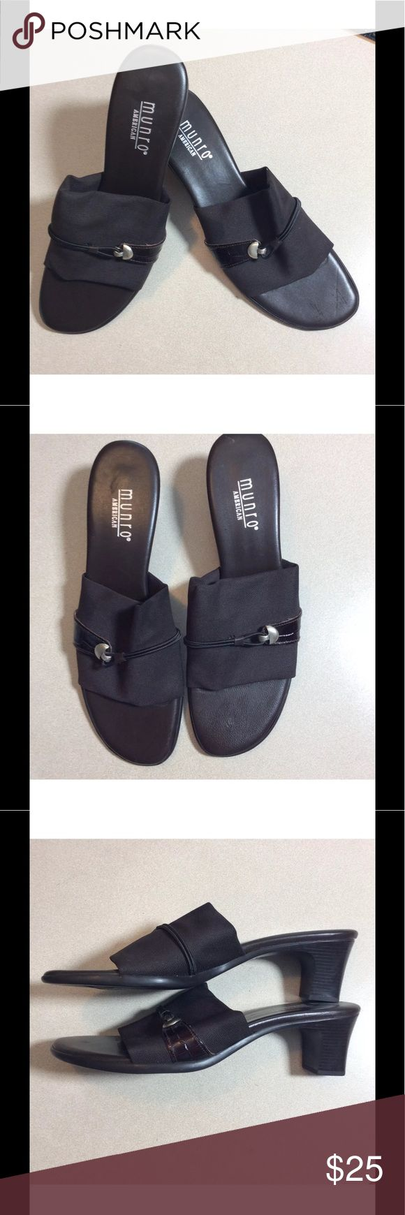 Munro NEVER WORN Size 7.5 SS Black Sandals Very nice Munro Sandals  New never worn  Hidden in Great Grandma's closet  Size 7.5 SS  Measurements are 9 inches on the inside sole 2 3/4 inches wide 2 inch heel Munro Shoes Sandals