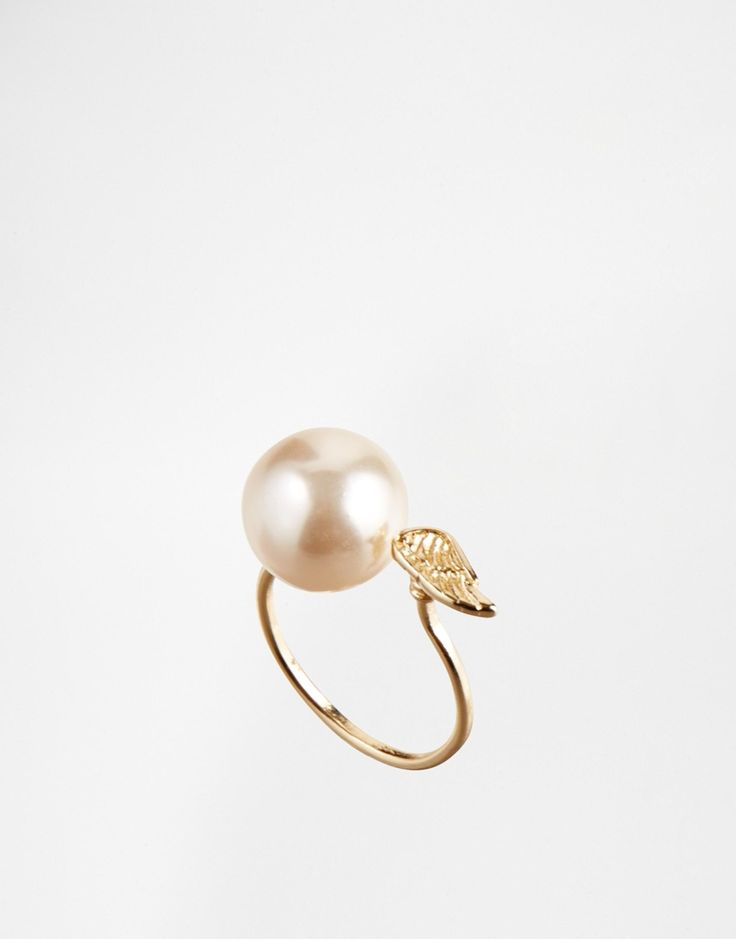 ASOS Faux Pearl And Wing Ring